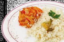 Азу из курицы под сырным соусом с рисом У Палыча